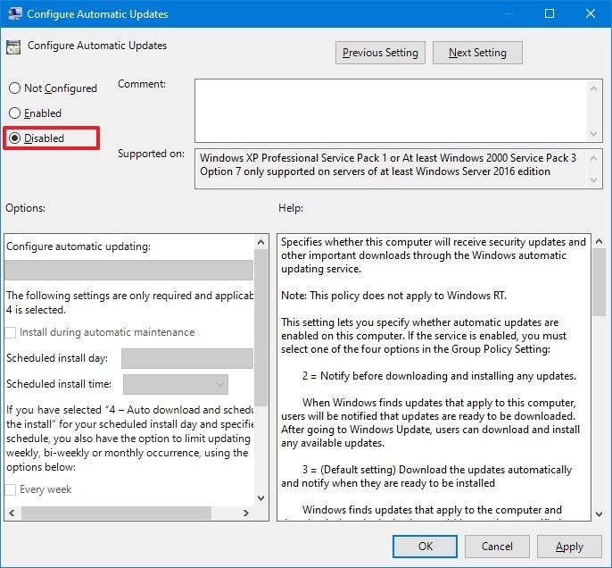Configure Automatic Updates policy